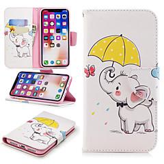 Недорогие Кейсы для iPhone 5-Кейс для Назначение Apple iPhone X / iPhone 8 Plus Кошелек / Бумажник для карт / со стендом Чехол Слон Твердый Кожа PU для iPhone X / iPhone 8 Pluss / iPhone 8