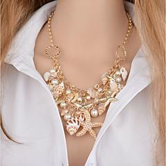 preiswerte Halsketten-Damen Mehrschichtig Anhängerketten - Künstliche Perle Seestern, Hülle Klassisch Gold 46+5 cm Modische Halsketten 1pc Für Bikini