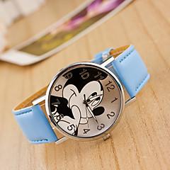 preiswerte Damenuhren-Damen Armbanduhr Chinesisch Armbanduhren für den Alltag / lieblich Leder Band Zeichentrick / Modisch Schwarz / Weiß / Blau