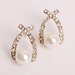 preiswerte Ohrringe-Damen 3D Tropfen-Ohrringe - Künstliche Perle, Strass Stilvoll, Klassisch Gold Für Alltag