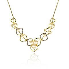 お買い得  ネックレス-女性用 合成アメジスト ペンダントネックレス  -  銀メッキ フラワー ファッション かわいい ゴールド, ローズゴールド 58 cm ネックレス ジュエリー 1個 用途 日常, 誕生日
