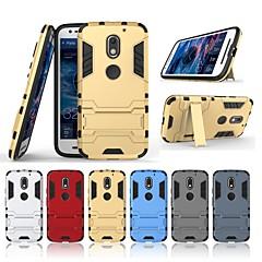 Недорогие Чехлы и кейсы для Motorola-Кейс для Назначение Motorola MOTO E3 со стендом Кейс на заднюю панель Однотонный Твердый ПК для MOTO E3