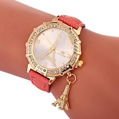 billiga Damklockor-Xu™ Dam Frackur / Armbandsur Kinesiska Kreativ / Vardaglig klocka / Vackert PU Band Eiffeltornet / Mode Svart / Vit / Blå