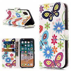 Недорогие Кейсы для iPhone 6-Кейс для Назначение Apple iPhone X / iPhone 8 Plus Кошелек / Бумажник для карт / со стендом Чехол Бабочка / Цветы Твердый Кожа PU для iPhone X / iPhone 8 Pluss / iPhone 8
