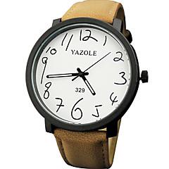 お買い得  メンズ腕時計-YAZOLE 男性用 リストウォッチ 夜光計 / カジュアルウォッチ PU バンド ファッション / ミニマリスト ブラック / ブラウン