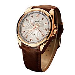 preiswerte Herrenuhren-YAZOLE Herrn Armbanduhr Nachts leuchtend / Armbanduhren für den Alltag Echtes Leder Band Luxus / Minimalistisch Schwarz / Braun