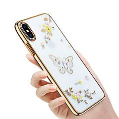 Недорогие Кейсы для iPhone 6-Кейс для Назначение Apple iPhone X / iPhone 8 Стразы / Покрытие / Рельефный Кейс на заднюю панель Бабочка / Сияние и блеск / Цветы Твердый ПК для iPhone X / iPhone 8 Pluss / iPhone 8