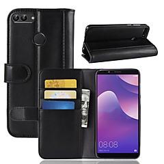 Недорогие Чехлы и кейсы для Huawei серии Y-Кейс для Назначение Huawei Y9 (2018)(Enjoy 8 Plus) / Y7 Prime (2018) Кошелек / Бумажник для карт / со стендом Чехол Однотонный Твердый Настоящая кожа для Y9 (2018)(Enjoy 8 Plus) / Huawei Y7