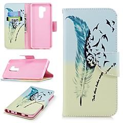 Недорогие Чехлы и кейсы для LG-Кейс для Назначение LG G7 Кошелек / Бумажник для карт / со стендом Чехол Перья Твердый Кожа PU для LG G7