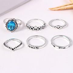 preiswerte Ringe-Damen Retro Ring-Set - Herz, Krone Retro, Europäisch, Modisch 7 Silber Für Normal / 6pcs