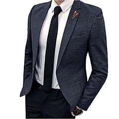 ieftine Blazer & Costume de Bărbați-Bărbați Zilnic De Bază Toamnă Regular Blazer, Carou / Striat Guler drept Manșon Lung Poliester Albastru piscină / Gri Închis / Roșu Vin XL / XXL / XXXL