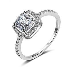 preiswerte Ringe-Damen Kubikzirkonia Stapel Ring / Verlobungsring - Platiert Stilvoll, Romantisch 6 / 7 / 8 Weiß Für Hochzeit / Verlobung