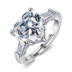 preiswerte Ringe-Damen Kubikzirkonia Stapel Einstellbarer Ring - Herz Stilvoll Verstellbar Silber Für Geschenk / Valentinstag