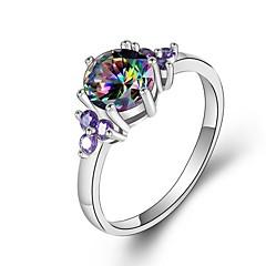 preiswerte Ringe-Damen Kubikzirkonia Stapel Ring - Platiert Stilvoll, Romantisch 5 / 6 / 7 Regenbogen Für Geburtstag / Geschenk