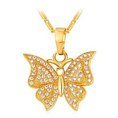 preiswerte Halsketten-Damen Kubikzirkonia Lang Anhängerketten - Schmetterling Modisch Gold, Silber 55 cm Modische Halsketten Schmuck 1pc Für Geschenk, Alltag
