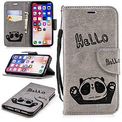 Недорогие Кейсы для iPhone 5-Кейс для Назначение Apple iPhone X / iPhone 8 Кошелек / Бумажник для карт / со стендом Чехол Панда Твердый Кожа PU для iPhone X / iPhone 8 Pluss / iPhone 8