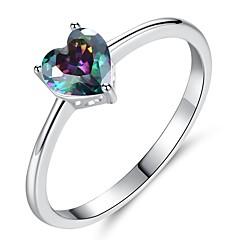 preiswerte Ringe-Damen Kubikzirkonia Stilvoll Ring - Platiert Herz Romantisch, Koreanisch 6 / 7 / 8 Weiß / Regenbogen Für Verlobung / Geschenk