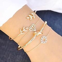 cheap Bracelets-Women's Layered Hollow Out Chain Bracelet Cuff Bracelet Bracelet - Leaf, Creative Geometric, Vintage, Fashion Bracelet Gold For Gift Birthday / 4pcs