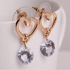 preiswerte Ohrringe-Damen Kubikzirkonia Solitär Tropfen-Ohrringe - Herz Einfach, Süß, Modisch Golden Für Alltag Normal