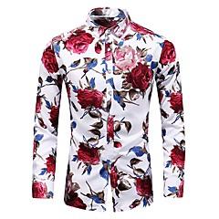 Недорогие Мужские рубашки-Муж. С принтом Большие размеры - Рубашка Хлопок Тонкие Винтаж / Классический Цветочный принт / Длинный рукав