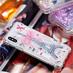 Недорогие Кейсы для iPhone 5-Кейс для Назначение Apple iPhone X / iPhone 8 Plus Защита от удара / Движущаяся жидкость / Прозрачный Кейс на заднюю панель Эйфелева башня Мягкий ТПУ для iPhone X / iPhone 8 Pluss / iPhone 8
