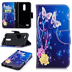 Недорогие Чехлы и кейсы для LG-Кейс для Назначение LG K10 2018 Кошелек / Бумажник для карт / со стендом Чехол Цветы Твердый Кожа PU для LG K10 2018