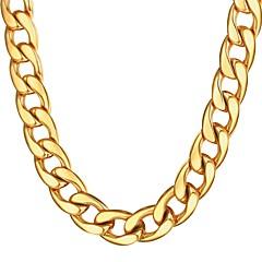 Недорогие Ожерелья-Муж. Толстая цепь Ожерелья-цепочки - Нержавеющая сталь гипербола, Мода Золотой, Черный, Серебряный 55 cm Ожерелье Бижутерия 1шт Назначение Подарок, Повседневные