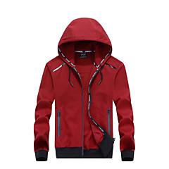 お買い得  メンズジャケット-男性用 日常 ストリートファッション 秋冬 レギュラー ジャケット, ソリッド フード付き 長袖 ポリエステル ダックグレー / ネイビーブルー / アーミーグリーン XXXXXXL / 8XL / 9XL