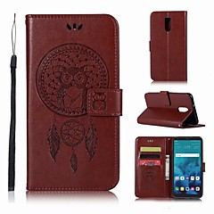 Недорогие Чехлы и кейсы для LG-Кейс для Назначение LG LG Q7 Кошелек / Бумажник для карт / со стендом Чехол Сова Твердый Кожа PU для LG Q7