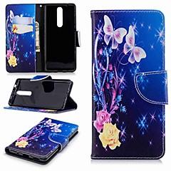 Недорогие Чехлы и кейсы для Nokia-Кейс для Назначение Nokia Nokia 5.1 / Nokia 3.1 Кошелек / Бумажник для карт / со стендом Чехол Бабочка Твердый Кожа PU для Nokia 8 / Nokia 6 2018 / Nokia 2.1