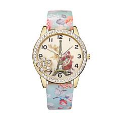 preiswerte Damenuhren-Damen Armbanduhr Quartz Eiffelturm Armbanduhren für den Alltag Leder Band Analog Blume Modisch Schwarz / Blau / Rot - Blau Rosa Leicht Grün