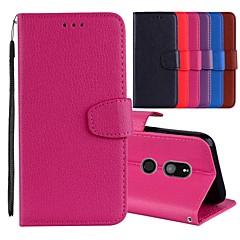 Недорогие Чехлы и кейсы для Sony-Кейс для Назначение Sony Xperia XZ / Xperia XZ2 Бумажник для карт / со стендом / Флип Чехол Однотонный Твердый Кожа PU для Xperia XZ2 / Sony Xperia XZ