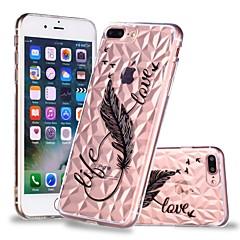 Недорогие Кейсы для iPhone-Кейс для Назначение Apple iPhone X / iPhone 8 Plus Прозрачный / С узором Кейс на заднюю панель Перья Мягкий ТПУ для iPhone X / iPhone 8 Pluss / iPhone 8