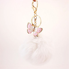 preiswerte Schlüsselanhänger-Schmetterling Schlüsselanhänger Beige / Purpur / Rosa Irregulär, Tier Zirkon, Kaninchen Haare, Aleación Diamant / Strass verziertes Gehäuse, Süß Für Geschenk / Verabredung
