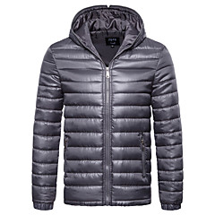 cheap Men's Downs & Parkas-Men's Daily Basic Fall / Winter Regular Leather Jacket, Solid Colored V Neck Sleeveless / Long Sleeve PU Red / Gray / Purple L / XL / XXL