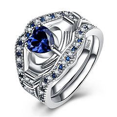 preiswerte Ringe-Damen Kubikzirkonia Mehrschichtig Stilvoll Ring - Platiert Herz Prinzessin 5 / 6 / 7 / 8 / 9 Blau Für Klub Bar
