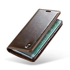 Недорогие Чехлы и кейсы для Sony-Кейс для Назначение Sony Xperia XZ2 Compact Кошелек / Бумажник для карт / Флип Чехол Однотонный Твердый Настоящая кожа для Xperia XZ2 Compact