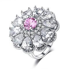 preiswerte Ringe-Damen Kubikzirkonia Stapel Ring - Platiert Blume Süß, Modisch 6 / 7 / 8 / 9 / 10 Rosa Für Karnival Geburtstag