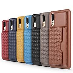 お買い得  Huawei Pシリーズケース/ カバー-ケース 用途 Huawei P20 Pro / P10 Plus カードホルダー / スタンド付き バックカバー ライン/ウェイブ ハード 本革 のために Huawei P20 / Huawei P20 Pro / P10 Plus