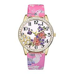 abordables Relojes Florales-Mujer Reloj de Pulsera Cuarzo Reloj Casual Piel Banda Analógico Flor Moda Negro / Azul / Rojo - Azul Rosa Verde claro