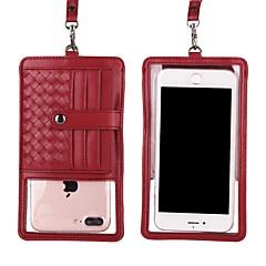 Недорогие Универсальные чехлы и сумочки-Кейс для Назначение Apple iPhone X / iPhone 8 Plus Кошелек / Бумажник для карт / со стендом Мешочек Полосы / волосы Твердый Настоящая кожа для iPhone X / iPhone 8 Pluss / iPhone 8