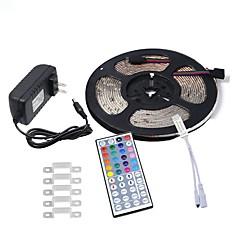 お買い得  LED ストリングライト-HKV 5m フレキシブルLEDライトストリップ 300 LED 3528 SMD 1 44キーリモコン / 1 x 2A電源アダプタ RGB 防水 / カット可能 / 接続可 100-240 V