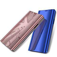 お買い得  その他のケース-ケース 用途 OnePlus OnePlus 6 スタンド付き / メッキ仕上げ / ミラー フルボディーケース ソリッド ハード PUレザー のために OnePlus 6