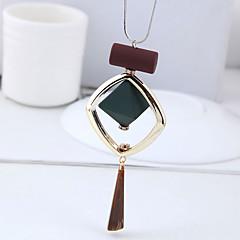お買い得  ネックレス-女性用 スタイリッシュ / 幾何学模様 ロングネックレス  -  創造的 シンプル, ぶら下がり式, 欧風 Brown 70 cm ネックレス ジュエリー 1個 用途 カジュアル, 日常