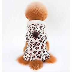 お買い得  犬用ウェア&アクセサリー-犬用 / 猫用 コート 犬用ウェア レオパード Brown コーラルフリース100% コスチューム ペット用 男女兼用 カジュアル/普段着 / ウォームアップ