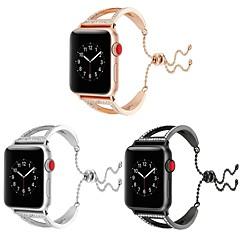 お買い得  腕時計用アクセサリー-ステンレス 時計バンド ストラップ のために Apple Watch Series 3 / 2 / 1 ブラック / シルバー 23センチメートル / 9インチ 2.1cm / 0.83 Inch