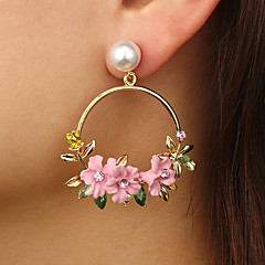 preiswerte Ohrringe-Damen Kubikzirkonia Skulptur Tropfen-Ohrringe - Künstliche Perle, Diamantimitate Flower Shape Luxus, Ethnisch, Modisch Gold Für Party / Abend Festtage