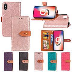Недорогие Кейсы для iPhone 7-Кейс для Назначение Apple iPhone XR / iPhone XS Max Кошелек / Бумажник для карт / со стендом Чехол Плитка Твердый Кожа PU для iPhone XS / iPhone XR / iPhone XS Max