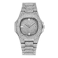 お買い得  メンズ腕時計-男性用 ブレスレットウォッチ リストウォッチ クォーツ シルバー / ゴールド / ローズゴールド カレンダー クリエイティブ 新デザイン ハンズ ぜいたく 光沢タイプ - ゴールド シルバー ローズゴールド 1年間 電池寿命 / 光る / 模造ダイヤモンド