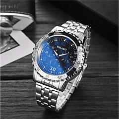 preiswerte Armbanduhren für Paare-Herrn Paar Sportuhr Armbanduhr Quartz 30 m Wasserdicht Armbanduhren für den Alltag Großes Ziffernblatt Edelstahl Band Analog Luxus Modisch Silber - Weiß Blau